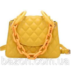 Мягкая женская сумка из стеганной экокожи MAVKA, цвет желтый
