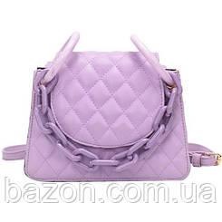 Мягкая женская сумка из стеганной экокожи MAVKA, цвет сиреневый