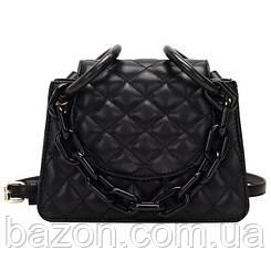 Мягкая женская сумка из стеганной экокожи MAVKA, цвет черный