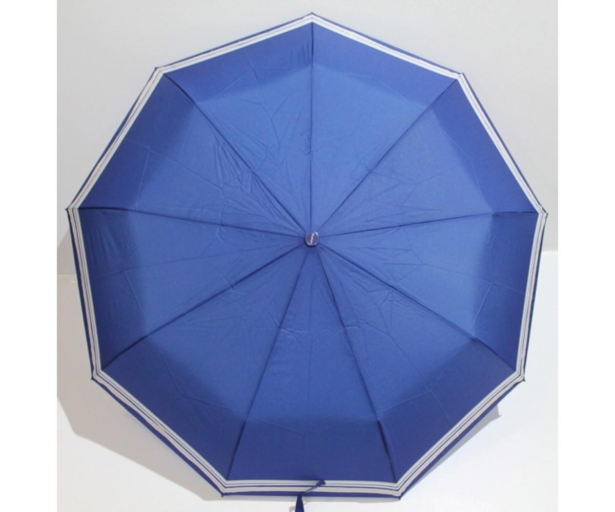Зонт-полуавтомат женский складной от дождя Антиветер 3 сложения FLAGMAN