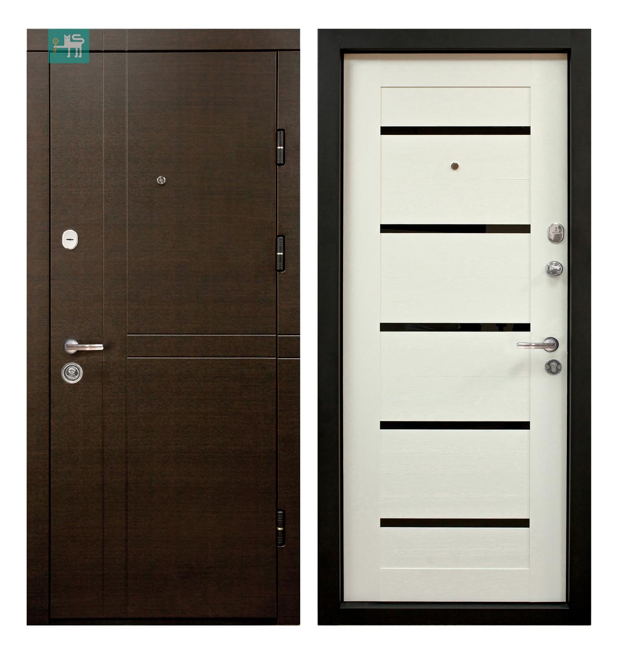 Двері вхідні МДФ/МДФ 86 права (ПК-180/16) венге горизонт темн./царга біла