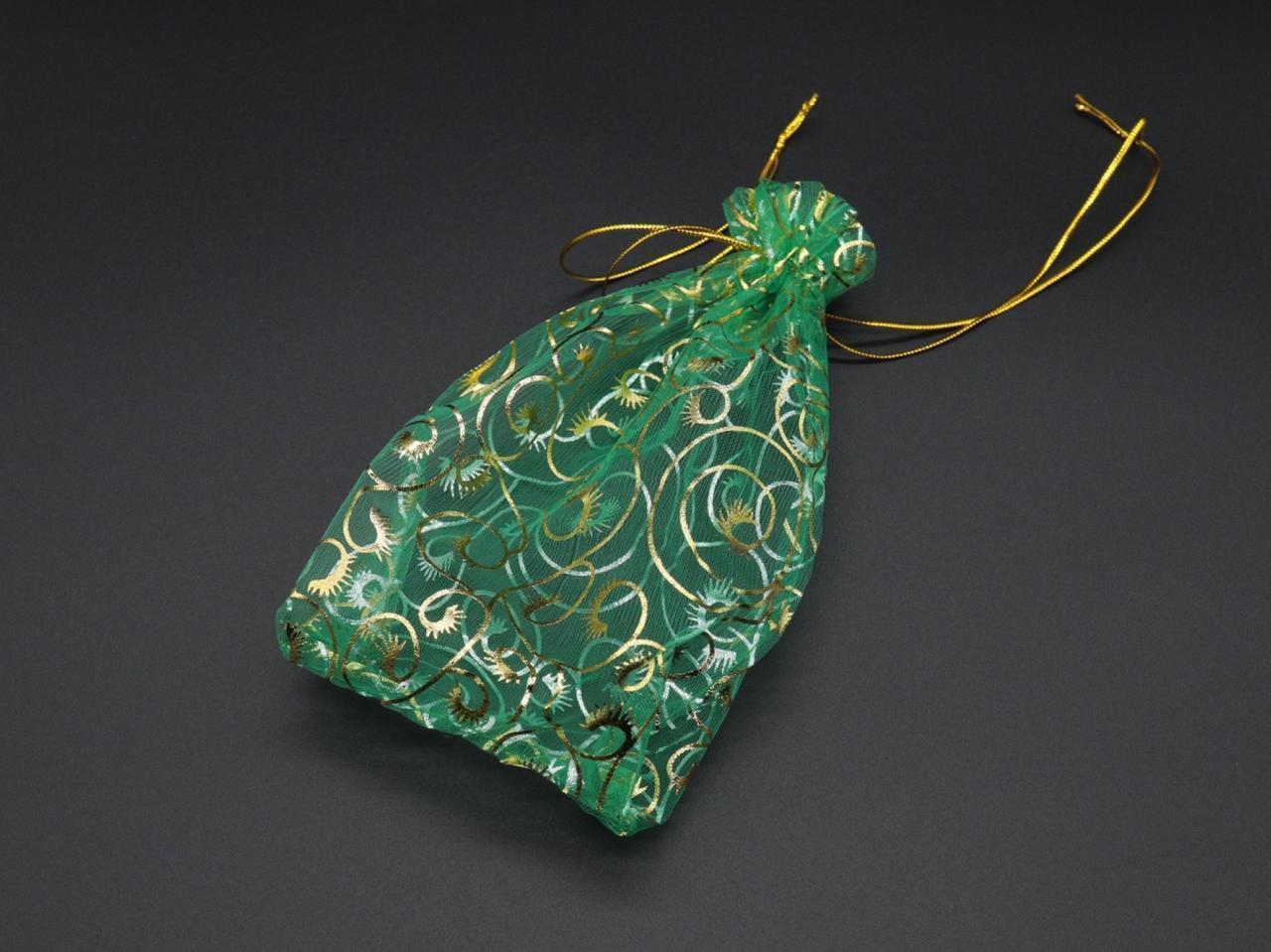 Подарункові мішечки з органзи. Колір зелений. 15х20см