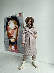 Стеганное довге модне пальто демісезонне Хаскі 11697