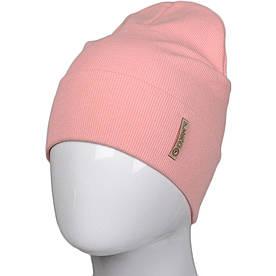 Трикотажная весенняя хлопковая шапка Fero, персиковая