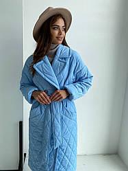 Шикарне актуальне стеганное синє пальто Хаскі 11697