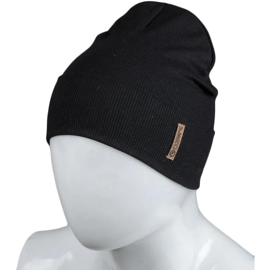 Трикотажная весенняя хлопковая шапка Fero, черная