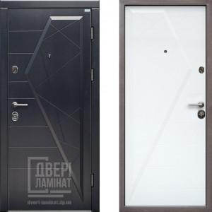 Двері вхідні МДФ/МДФ 85 ліва (Стандарт Айсберг графіт/ біла матова)