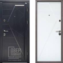 Двері вхідні МДФ/МДФ 85 ліва (Стандарт Айсберг графит/ белая матовая)