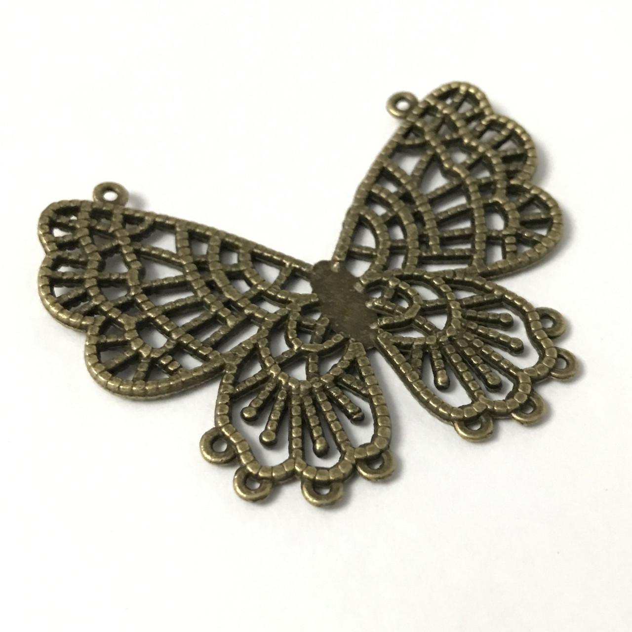 Металеві накладки декор. Метелик. Колір антична бронза. 60х48мм