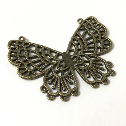 Металеві накладки декор. Метелик. Колір антична бронза. 60х48мм, фото 2