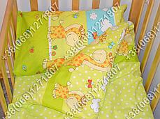 Детское постельное белье и защита (бортик) в детскую кроватку (жираф салатовый), фото 3