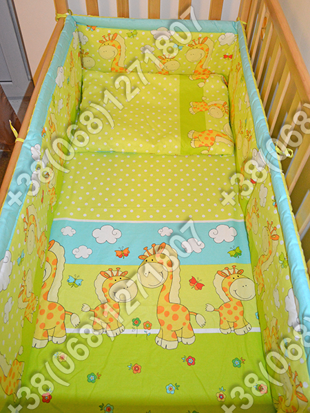 Детское постельное белье и защита (бортик) в детскую кроватку (жираф салатовый)