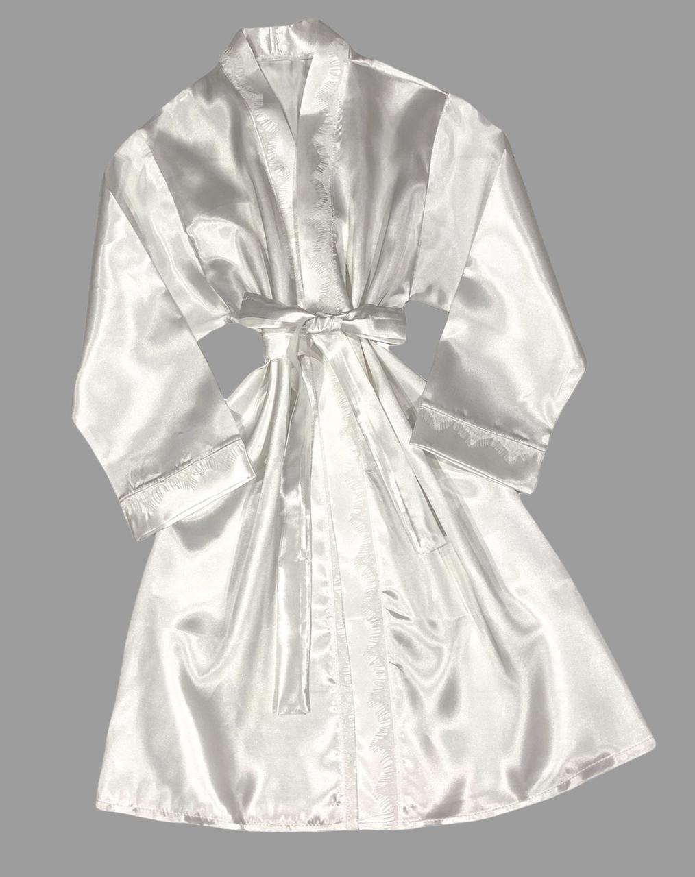 Белый халат атлас женский с кружевом