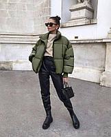 Женская стильная куртка короткая теплая дутая беж черный хаки и красный 42-44 и 44-46