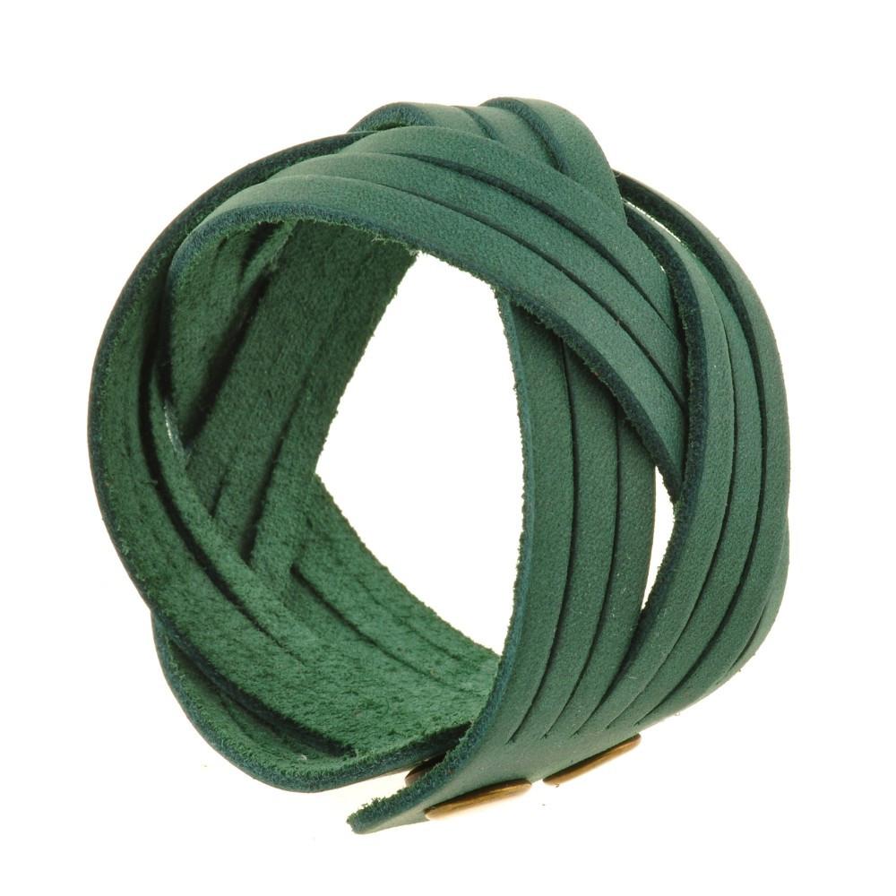 Браслет кожаный зеленый косичка (ручная работа)
