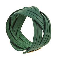 Браслет кожаный зеленый косичка (ручная работа), фото 1