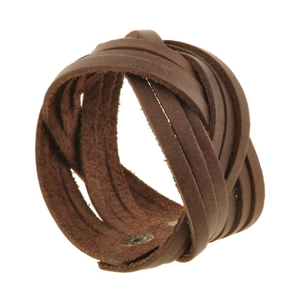 Браслет кожаный коричневый косичка (ручная работа)