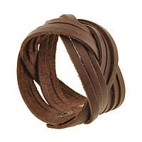 Браслет кожаный коричневый косичка (ручная работа), фото 1