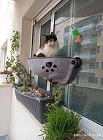 Гамак лежанка для кота на окно с присосками (оконная лежанка для котов)