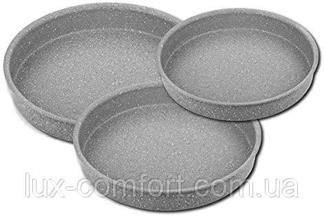 Набор противней с антипригарным покрытием 3 штуки серый OMS 3086-Grey