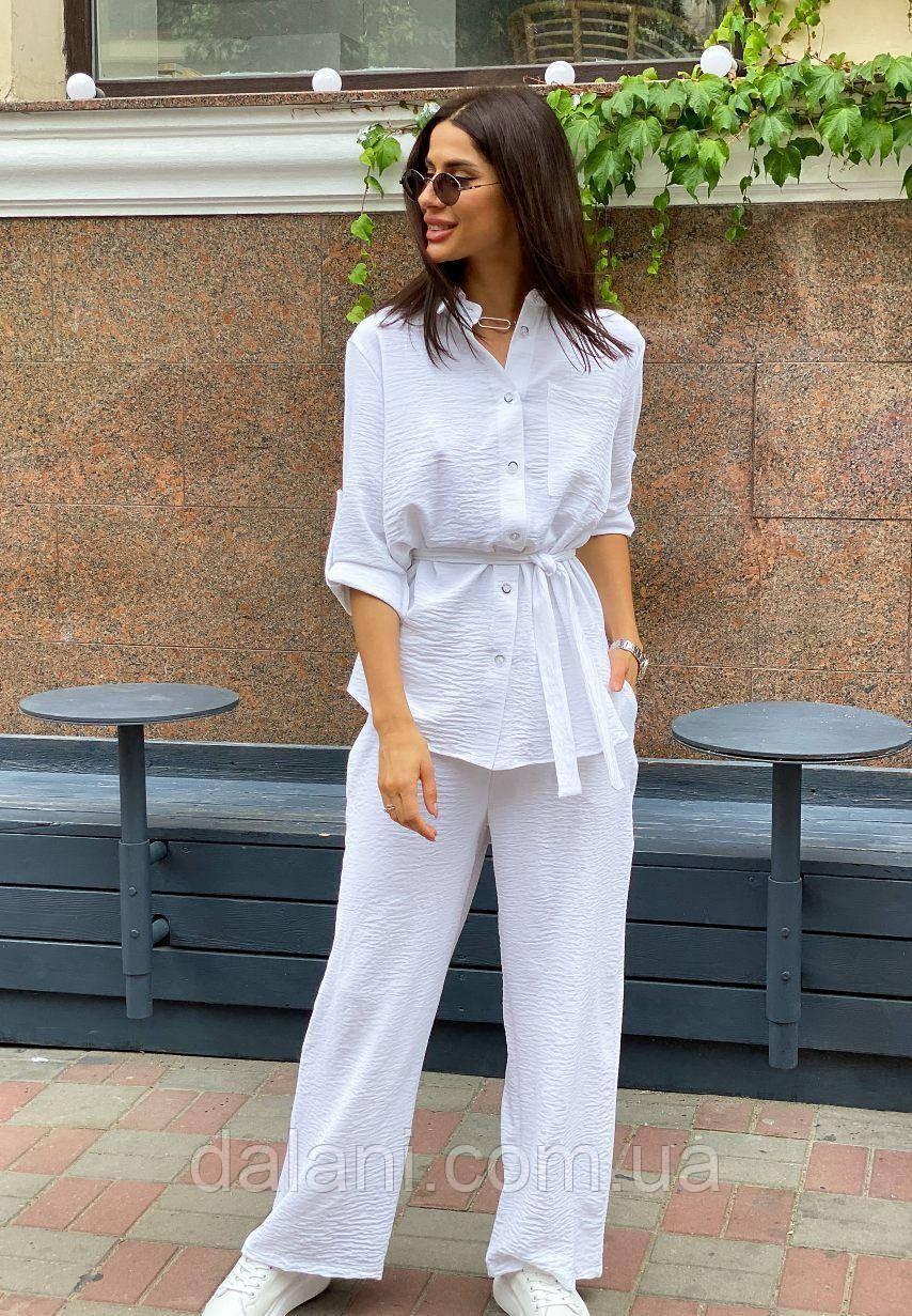 Женский белый летний костюм из рубашки с поясом и брюк