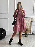 Женское вельветовое платье 00316 (42,44,46,48,50,52) (пудра,бежевый,джинс,красный, графит,бордо,фреза,черный)
