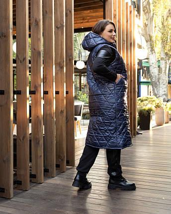 Модный длинный простеганный жилет большого рамера с 50 по 60 размер, фото 2