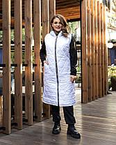 Модный длинный простеганный жилет большого рамера с 50 по 60 размер, фото 3