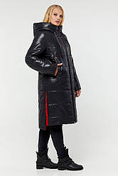 Черная лаковая зимняя женская куртка Юзефа