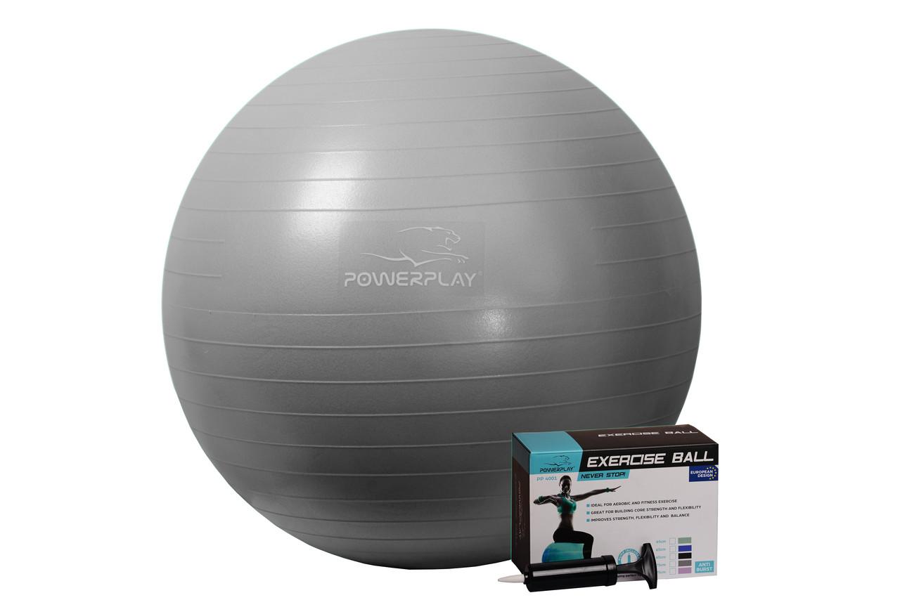 М'яч для фітнесу PowerPlay 4001 65см Сірий + насос