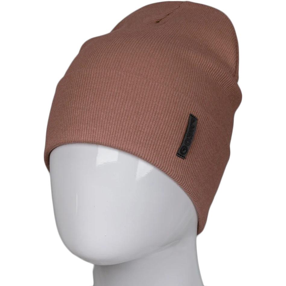 Трикотажна весняна бавовняна шапка Fero з логотипом, мокко
