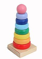 Деревянная игрушка Пирамидка Круг Д006у Руди