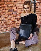 Черная кожаная сумка рюкзак женская трансформер через плечо из натуральной кожи сумка-рюкзак черного цвета, фото 1