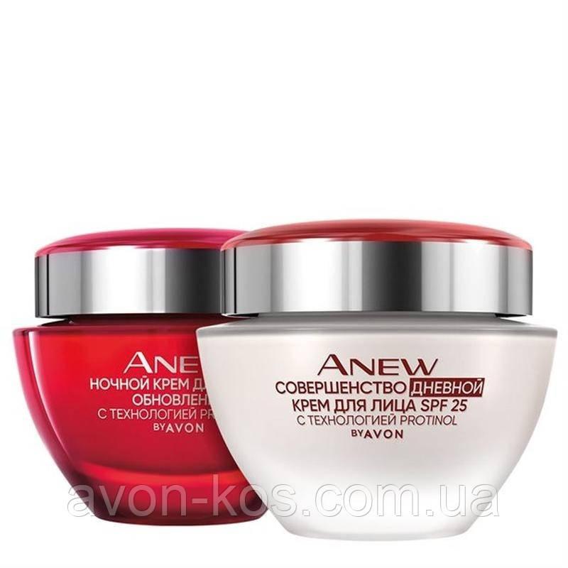 Набір; Денний та нічний крем для обличчя AVON ANEW Досконалість з технологією Protinol  35+   (50 мл+50 мл)