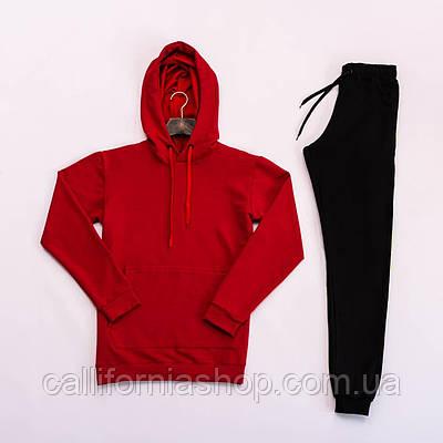 Спортивный костюм мужской худи штаны костюм двойка с капюшоном ( цвет красный с черным )