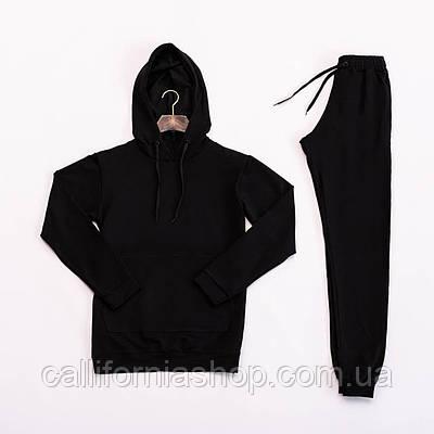 Спортивный костюм мужской черный с капюшоном комплект худи и штаны демисезонный двунитка XXL