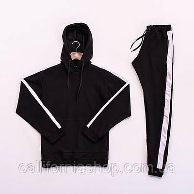Спортивный костюм мужской черный с капюшоном и лампасами худи + штаны