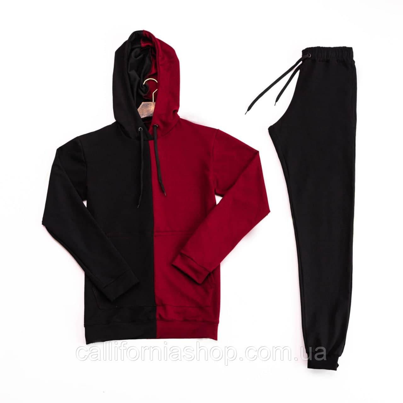 Спортивный костюм мужской штаны и худи черно-красного цвета