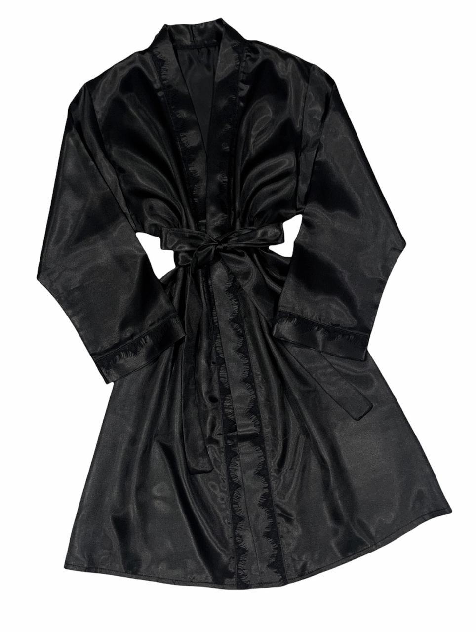 Жіночі халати, чорний атласний халат з мереживом.
