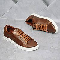 Мужские кожаные кроссовки Philipp Plein Рыжие, фото 1