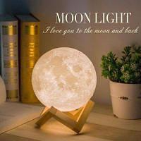 Настільний 3D світильник-нічник Місяць (GIPS), Лампа 3D Moon Lamp, Настільний світильник місяць на сенсорному/