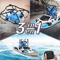 Катер-човен-дрон Bolt CH405 3в1 (GIPS), Радіокерована іграшка, Літаючий дрон 3в1, Радіокерований дрон