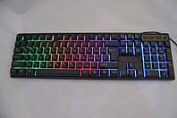 Клавіатура KR-6300 з підсвічуванням (GIPS), USB провідна комп'ютерна клавіатура, Ігрова клавіатура з