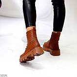 Женские ботинки ДЕМИ коричневые/ рыжие эко кожа, фото 5