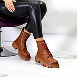 Женские ботинки ДЕМИ коричневые/ рыжие эко кожа, фото 7