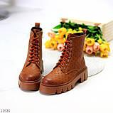 Женские ботинки ДЕМИ коричневые/ рыжие эко кожа, фото 8
