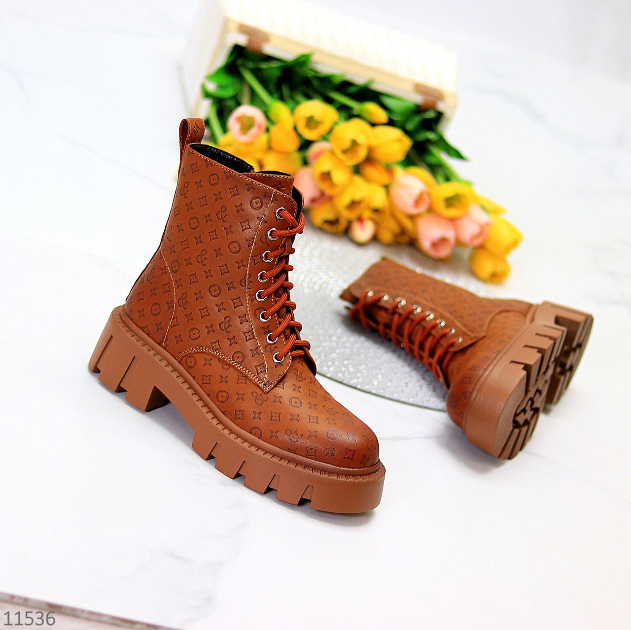 Женские ботинки ДЕМИ коричневые/ рыжие эко кожа