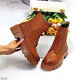 Женские ботинки ДЕМИ коричневые/ рыжие эко кожа, фото 9