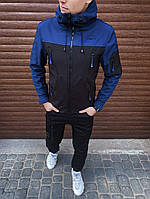 """Не продуваемая спортивная куртка Soft Shell """"Король Лев"""" черная с темно-синим"""