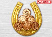 """Магнит """"Подкова золотая с монетами"""""""
